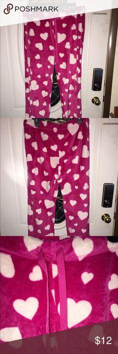 Faded Glory Pink Fluffy Lounge Pants Faded Glory Warm & Comfy Pink and White Heart Lounge Pants Size Large Faded Glory Intimates & Sleepwear Pajamas