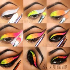 "Neon look created with the Sleek ""Acid"" palette. Holy hell this is cool!"
