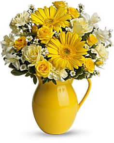 Teleflora's Sunny Day Pitcher of Cheer Bouquet - Teleflora