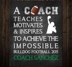 Football Coach Thank You Gift and Coach Keepsake, Chalkboard Art Print