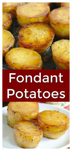 Fondant Potatoes (Pommes Fondant) - Thick-cut potatoes cooked in herbs, butter, and vegetable broth until crisp on the outside and creamy on the inside. This French recipe is great for the holidays and so delicious! French Side Dishes, Classic French Dishes, Holiday Side Dishes, French Food, Parmesan, French Appetizers, Fondant Potatoes, Buttered Cabbage, Food Wishes