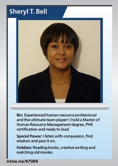 Experienced human resource professional and the ultimate team player! I hold a Master of Human Resource Management degree, PHR certification and ready to lead.