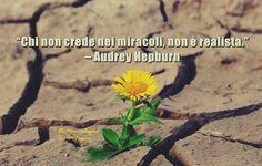 """#pensierodelgiorno #31agosto """"Chi non crede nei miracoli, non è realista."""" – Audrey Hepburn"""
