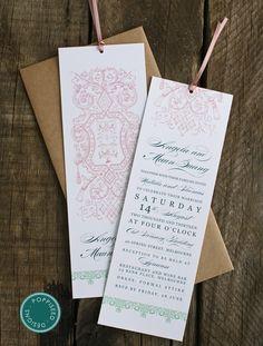 Vintage bookmark wedding invitation