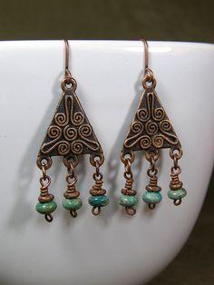 native bohemian fashion | Native Earrings - Chandelier Earrings - Turquoise Earrings - Ethnic ...