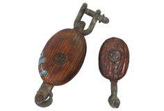 Wooden Pulleys, Pair on OneKingsLane.com