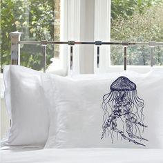 JELLYFISH pillow case (1) NEW england sea Ocean NAVY Beach snail decor jelly fish art and white retro sailor maritime Nautical Pillowcase
