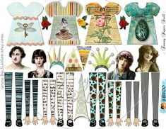 Digital collage sheet doll - Digital paper: printable paper doll for your artwork and crafting project - Altered art, steampunk, scrpbook, vintage project etc. free your imagination! Paper Doll Template, Paper Dolls Printable, Papel Vintage, Vintage Paper Dolls, Vintage Art, Vintage Clip, Collage Sheet, Collage Art, Art Journal Pages