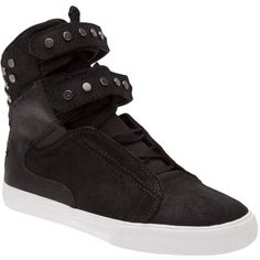 SUPRA waxed society shoe ($110) ❤ liked on Polyvore featuring shoes, sneakers, studded shoes, supra footwear, strap shoes, black hi tops and black velcro shoes