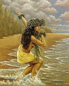 beautiful art by Hawaiian local, Eddie Y from the big island, Hawaii. Hawaiian Dancers, Hawaiian Art, Hawaiian Quotes, Hawaiian People, Hawaiian Girls, Vintage Hawaiian, Polynesian Dance, Polynesian Culture, Polynesian Girls