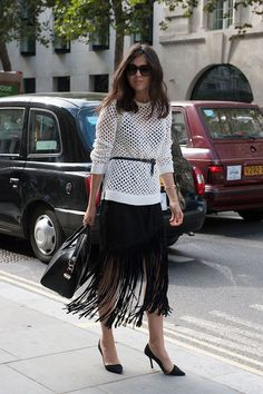 How to Wear Fringe Skirts   Belted white sweater   Street style   Fashion   Inspiration