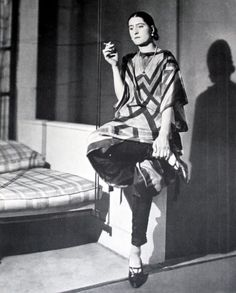 Sonia Delaunay wearing one of her many GeometricTextile Designs in Apparel form.