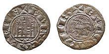 Pepión, moneda de vellón, acuñado en Toledo durante el reinado de Fernando IV.