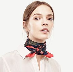 Shop Ann Taylor for effortless style and everyday elegance. Our Night Garden Silk Scarf is the perfect piece to add to your closet. Silk Neck Scarf, Silk Shawl, Look Street Style, Outfits Mujer, How To Wear Scarves, Floral Scarf, Neck Scarves, Looks Cool, Scarf Styles