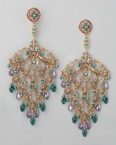 Crystal Lace-Filigree Earrings - Neiman Marcus, from The Christmas Book and in stock  Lavender and green