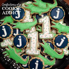 1st birthday, alligator and monogram cookies