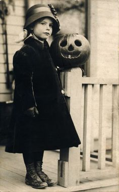 Vintage photo - girl with jack-o-lantern