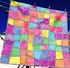 Handmade Patchwork Quilt Modern Art Quilted Lap/Throw Size