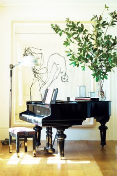 painting beyond piano.figures dancing on piano_VINTAGE LUXE Piano Living Rooms, My Living Room, Living Spaces, Attic Renovation, Attic Remodel, Grand Piano Room, Piano Room Decor, Up House, Attic House