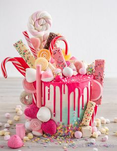 19 Epic Candy-Covered Wedding Cakes - Candy - Ideas of Candy - Cake Sweetie! 19 Epic Candy-Covered Wedding Cakes … in 2019 Pretty Cakes, Cute Cakes, Beautiful Cakes, Yummy Cakes, Amazing Cakes, Bolo Drip Cake, Drip Cakes, Birtday Cake, Cake Birthday