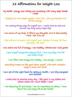 This list of affirmations for weight loss helps you get off the extra weight faster and easier, while eliminating your emotional eating, food cravings, resistance to exercise and increasing your energy, vitality and overall health.