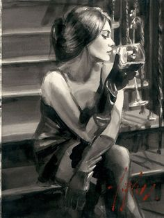 Saba on The Stairs Painting by Fabian Perez Fabian Perez, Art Du Vin, Art Sketches, Art Drawings, L'art Du Portrait, Wine Art, Pulp Art, Erotic Art, Figurative Art