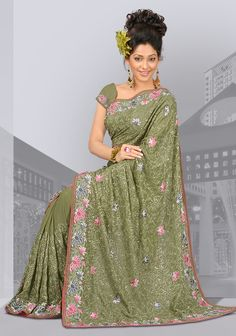 Mehndi Green Designer Party Wear Saree with Embroidery