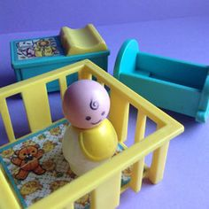 Fisher Price Little People Baby & Nursery, 4 piece set, playpen / rocker / changing table Fisher Price Toys, Vintage Fisher Price, 70s Toys, Retro Toys, My Childhood Memories, Sweet Memories, 1980s Childhood, Barbie, Classic Toys