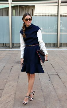 Olivia Palermo @ Lincoln Center for Carolina Herrera, wearing a CH by Carolina Herrera dress with a Giorgio Armani blouse. Shoes are Giuseppe Zanotti with a belt and bag by Reiss.