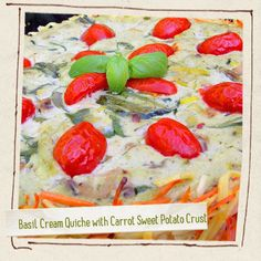 Basil Cream Quiche with Carrot Sweet Potato Crust  vegan, plantbased, earth balance, made just right