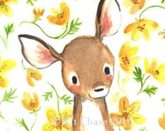 Kinderkunst--Whimsy Floral Fawn--Art Print