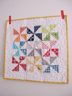 whirling spring mini quilt - 4 by 4 pinwheels, 16 inches total