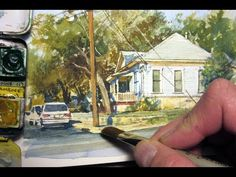 Realistic Watercolor of a House by James Gurney - note camera tri-pod use for easle Watercolor Video, Watercolour Tutorials, Watercolor Techniques, Watercolour Painting, Painting Techniques, Watercolours, Painting Videos, Painting Lessons, Art Lessons