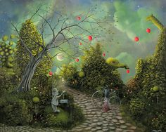 Come One Come All. Fantasy Landscape Circus Fairytale Art By Philippe Fernandez  Painting  - Come One Come All. Fantasy Landscape Circus Fairytale Art By Philippe Fernandez  Fine Art Print
