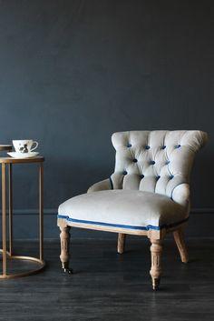 Vintage Style Little Barcelona Velvet Chair - Grey - Statement Chairs - Furniture
