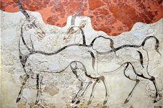Minoan Fresco wall painting of goats from Minoan Bronze Age settlement of Akrotiri on the Greek island of Thira, Santorini, Greece. Greek History, Art History, Ancient History, Rome Antique, Art Antique, Ancient Greek Art, Ancient Greece, Fresco, Minoan Art