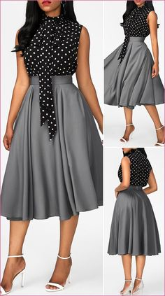Kleider Mit Glockenrock High Neck Printed Black top and Grey Skirt Africaine Cute Dress Outfits, Classy Work Outfits, Chic Outfits, Casual Dresses, Fashion Outfits, Dress Fashion, Elegant Dresses Classy, Elegant Dresses For Women, Classy Dress