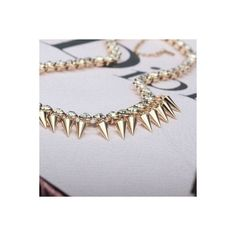 Crystal Chain Punk Gold Spike Necklace Choker via Polyvore