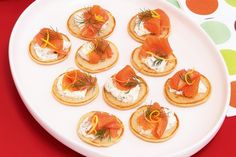 Entertaining the masses is easy with these quick blini topped with smoked salmon, creamy mascarpone and dill. Smoked Salmon Blinis, Smoked Salmon Recipes, Bread Appetizers, Appetizer Recipes, Snack Recipes, Snacks, Savoury Recipes, Party Recipes, Fish Recipes