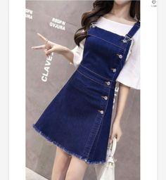 Women Single Breasted High Waist Blue Color Sleeveless Mini a-line Denim Dress Blue Dress Outfits, Skirt Outfits, Casual Outfits, Cute Outfits, Denim Fashion, Look Fashion, Korean Fashion, Girl Fashion, 70s Fashion