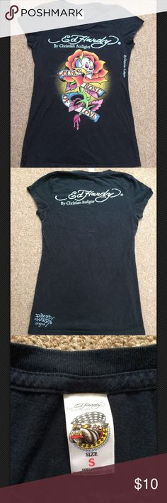 """Ed Hardy Golden Rose Of Love Tee Women's Ed Hardy graphic t-shirt. Size Small. 100% Cotton. Measurements: Armpit armpit-16"""" Length(collar to hem)-26"""" Ed Hardy Tops Tees - Short Sleeve"""