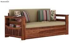 Buy Sereta Sofa Cum Berth (Queen Size, Irish Cream, Teak Finish) Online in India - Wooden Street