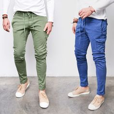 Unbalance Cargo Banding Ankle-Pants 213 - GUYLOOK Joggers Outfit, Mens Joggers, Trendy Mens Fashion, Fashion Network, Cargo Pants Men, Drawstring Pants, Ankle Pants, Fashion Outfits, Jeans