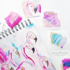 Caroline Khoo's water color. #painting #pastel #brush #art #artist #simple #calming #pink #blue #flamingos