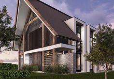Villa IJ - interior | architecture | totaal concepten | interieur | tuinplan - Marco van Veldhuizen House Roof, House 2, Fibreglass Roof, Villa, Contemporary Cottage, Gable Roof, Attic Apartment, Old Houses, Bungalow