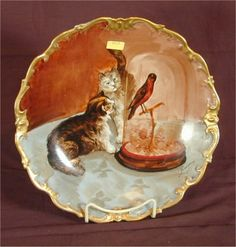 limoges china | 6013: LIMOGES CHINA HNDPTD PLATE W/CATS & BIRD UNDER GL : Lot 6013