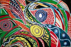 feeding frenzy, acrylic on paper, by self taught artist Katina Cote