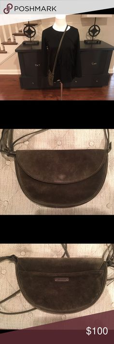 "👍Discount Ship Max Mara Olive Green Suede Purse New and unused Max Mara Olive Suede Handbag with a thin leather shoulder strap, featuring flap, magnetic Snap closure, then zip closure with a tassel pull and cloth lining.  Dimensions 11""W x 7""H x 2""D. Beautiful bag. Max Mara Bags Shoulder Bags"