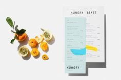 Graphic identity and menu designed by Savvy for Mexican cafe and juice bar Hüngry Beast