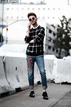 Gucci Jeans & Check Sweater on Imdrewscott.com